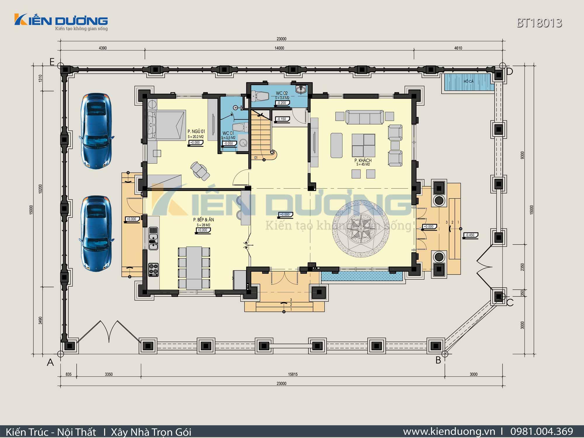 mặt bằng biệt thự 3 tầng kiểu pháp