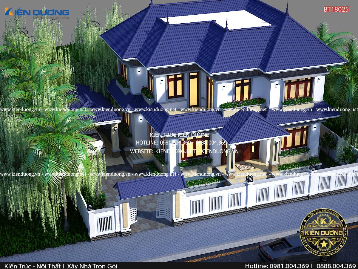 mẫu nhà vườn 2 tầng mái thái đẹp