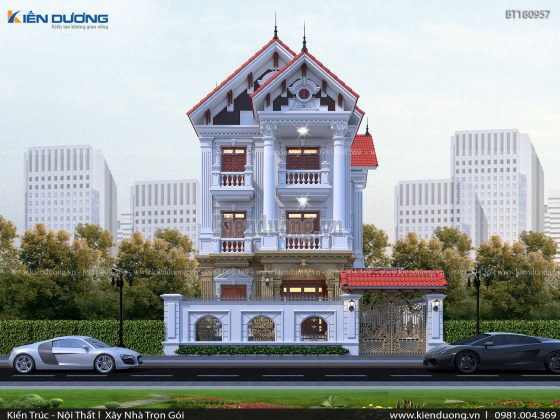 biệt thự 3 tầng mái thái cổ điển